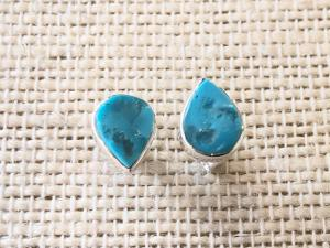 Turquoise - sleeping Beauty - Sterling Silver Stud Earrings (Ref E11Stud)
