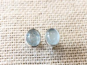 Aquamarine - Sterling Silver Stud Earrings (Ref E41Stud)