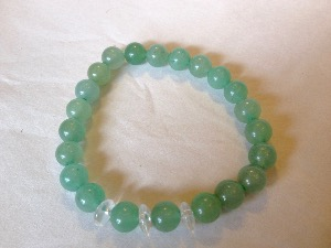 Aventurine - Green with 3 Quartz 'Button' 8mm Beads Bracelet