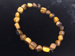 Golden Tiger Eye, 7 to 9mm tumbled Beads  Elasticated Bracelet 20cm