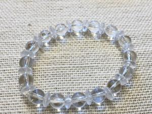 Quartz - 8mm Round  & 8mm Button Beads - Elasticated Bracelet (ref 58)