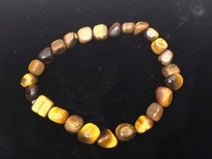 Golden Tiger Eye, 7 to 9mm tumbled Beads  Elasticated Bracelet 19cm
