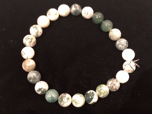 Agate - Tree Agate 8mm Beads  Elasticated Bracelet 19cm