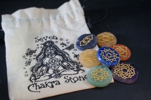 Round Stone Chakra Set, with Gold Symbols & Bag (No.61)