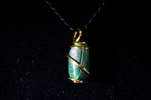 Malachite Hand Wired Pendant (No.736)