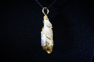 Natural Citrine Hand Wired Pendant (No.737)