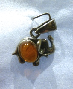 "Sterling Silver ""Elephant"" Pendant with Amber (No.33)"