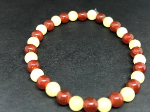 Carnelian and Aragonite Sphere Shape Beads, Elasticated Bracelet