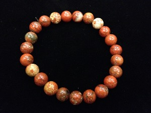 Jasper - Brecciated - 8mm Round Beads - Elasticated Bracelet