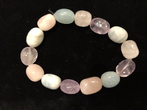 Mixed - Amethyst, Blue Calcite and Rose Quartz Tumbled Beads, Elasticated Bracelet 21cm large