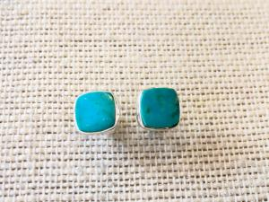 Turquoise - sleeping Beauty - Sterling Silver Stud Earrings (Ref E12Stud)