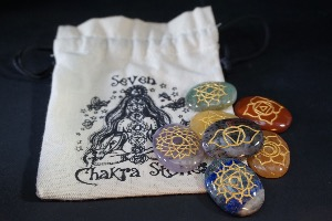 Large Stone Chakra Set, with Gold Symbols & Bag