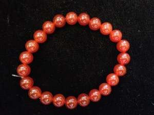 Carnelian - 8mm Round Beads - Elasticated Bracelet