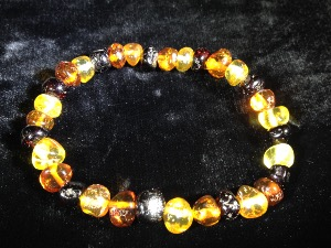 Mixed Colours of Baltic Amber - Elasticated Bead Bracelet ( No.1)