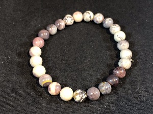 Jasper - Porcelain Jasper 8mm Beads Elasticated Bracelet (1 )